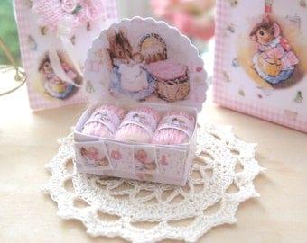 dollhouse wool shop display beatrix potter hunca munca 3 balls of pink  wool boxed 12th scale miniature