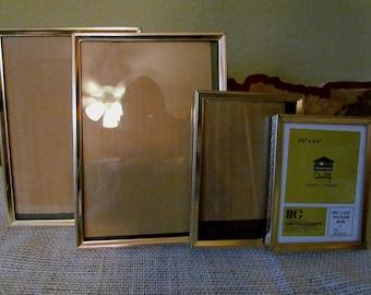 Vintage Gold Metal Frames Set of 4, Matching, 5 x 7, 3 x 5
