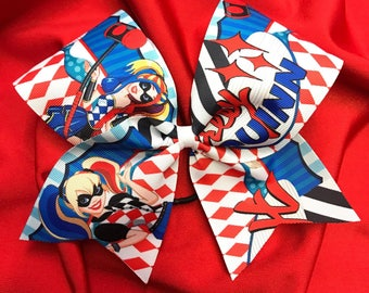 Harley Quinn Grosgrain Cheer Bow on elastic