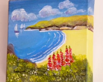 Original, Acrylic Painting, Box Canvas, Seascape, with Foxgloves, 20cm x 20cm, Gift Idea, Art and collectibles, Home and Living