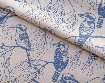 Hand Screen Printed Fabric by Ink and Spindle - Kookaburra in Indigo on Eco Oatmeal 140cm x 50cm