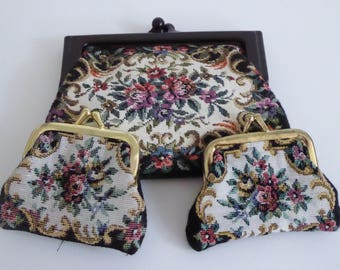 Cute vintage clutch bag/purse/make up bag with 2 tiny coin purses