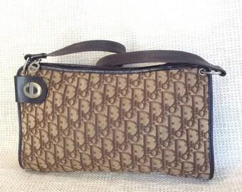 20% OFF SUMMER SALE Genuine Christian Dior vintage brown tapestry shoulder bag with logo
