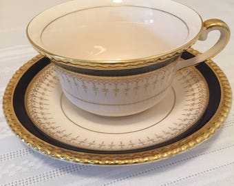 Fondeville Ambassador Cup & Saucer, Vintage Collectables, Cobalt Blue with Gold Trim, Made in England, Old Ambassador Shape