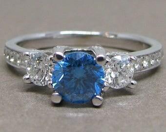 Blue Round Diamond Three Stone Engagement Ring 18k White Gold 1.50ct Pave Fancy Vintage