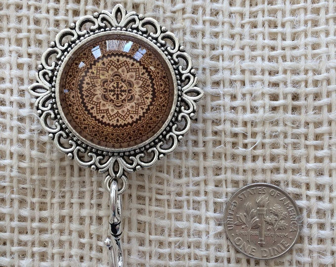 Knitting Pin - Magnetic Knitting Pin for Portuguese Knitting - Kaleidoscope Brown