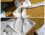 Antique French Folk Scarf White Cotton Lace Trim #sophieladydeparis