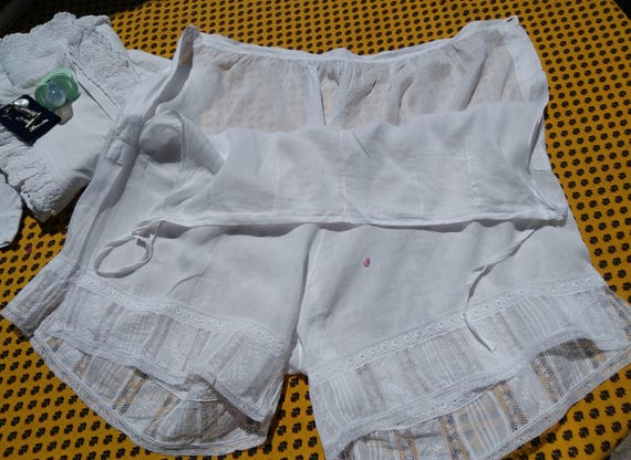 Victorian Delicate White Cotton Lacy Panties French Handmade Lace Inlays Rose Embroidered Lingerie Large / Xlarge #sophieladydeparis