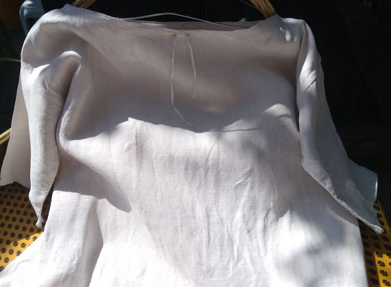 Rustic Victorian 1850's Linen Shirt Handmade French Farmhouse Dress Large Primitive Nightgown #2 #SophieLadyDeParis