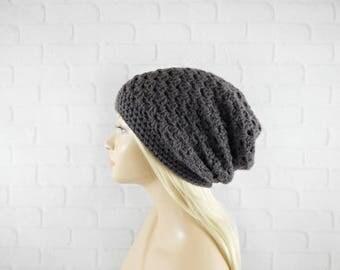Slouchy Beanie, Womens Crochet Hat, Slouchy Winter Hat, Crochet Beanie, Dark Grey Beanie, Vegan Hat, Slouch Hat Crochet, Baggy Hat Womens