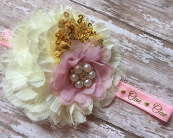 Pink and cream 1st Birthday Headband, one headband, cream, goldand pink, gold script one birthday headband, baby headband, first birthday