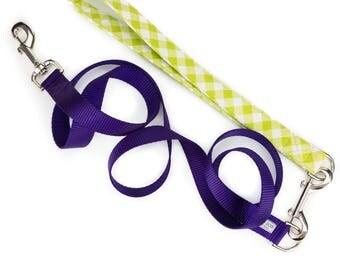 Gingham dog leash, green dog leash, traffic leash, training leash, plaid dog leash, lime dog leash, preppy dog leash