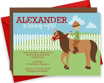 Horse Invitations, Horse Birthday Party, Cowboy Invitation, Pony Invitation, Horse Birthday, Horse Party,Horse Theme,Cowboy Birthday | 204