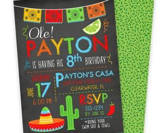 Fiesta Invitation, Cinco De Mayo Printables, Fiesta Birthday Invitation, Fiesta Party, Mexican Invitation, First Birthday Invitation | 609