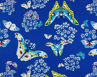 Queen Anne's Butterflies in Saphire - Alchemy by Amy Butler -  Rowan Fabric - Organic