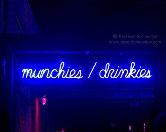 Neon Sign Art - Munchies Drinkies Bar Sign Wall Decor - Fine Art Photography Print - Urban Contemporary, Blue Fluorescent, Night Light