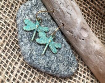 Dangle Drangonfly Metal Patina Earrigs