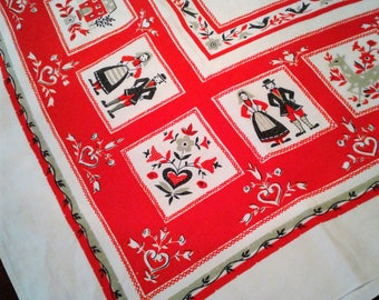 Pennsylvania Dutch Linen Kitchen Tablecloth Vintage Mid Century 48 Inches Square Red White Green