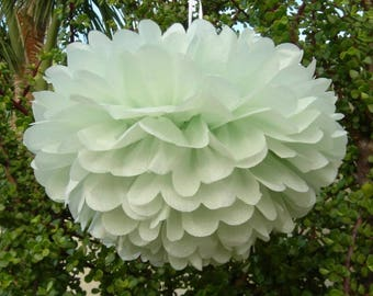 6x Mint Tissue Paper Pom Poms Vintage Engagement Wedding Anniversary Christening Baptism Birthday Party Venue Decoration