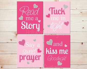 Pink nursery art Girls room decoration Read me a story Pink hearts wall art Little girl room art Baby decor Girl nursery heart art #1500