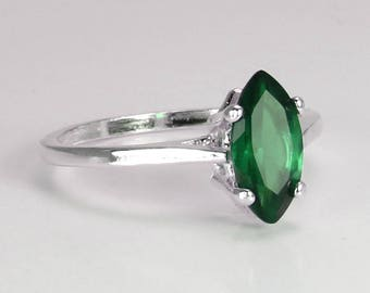 Sterling Silver Emerald Ring / 2.3 ct Emerald Ring Silver