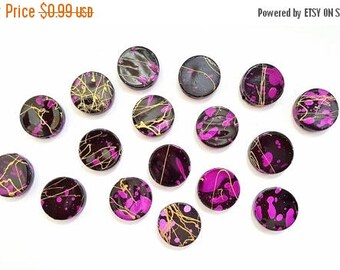 50% OFF Black Magenta and Gold Speckled Acrylic Coin Beads. 19 X 5mm in Size.  17 Pretty Beads.  Fun and Funky!!  Great Beads!!