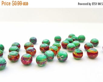 50% OFF Green Glass Beads with Reddish Drawbench Design.  6mm Round Beads.  30 Beads.  Fun and Funky Beads!!  Pretty and Unique!!