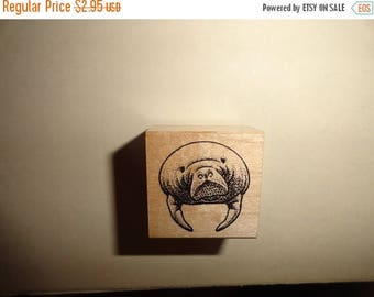50% OFF Walrus stamp 1 by 1 inch Vintage Wooden rubber stamp