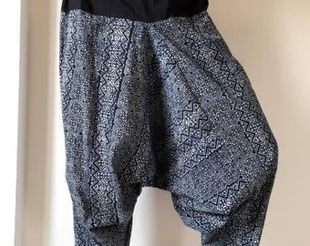 HL00 Indigo Harem pants  Handmade pants, Thick Smock Waist Low Crotch, Women Yoga Harem Pants  - elastic waistband and cuffs - Fits all !
