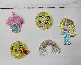 Rhinestone Hair Clip, Bow, Emoji Hair Clip, Girls  Fun Hair Clip, Cupcake, Mermaid, Rainbow