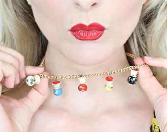 1950s Novelty Necklace / Vintage souvenir / Tiny dolls with hats / Asian / Hand painted / Glass beads