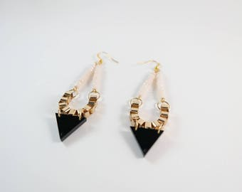 Rose Quartz Black Triangle Earrings
