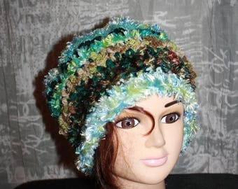 fancy, very warm hat, shades of green
