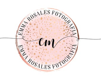 DIGITAL Gold pink Photography logo, watercolor watermark photography logo, circle round logo design, logo photography, gold pink watermark