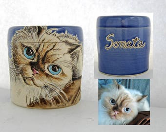 Personalized Cat Urn, Custom cat portrait, pet cremation urn, pet portrait urn, cat urn, rabbit urn, all animals welcome, various sizes.