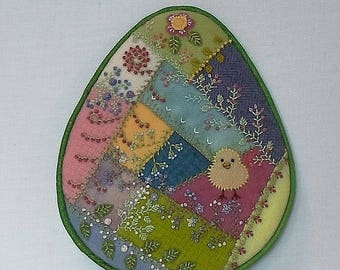 Handmade Easter Egg Felted Wool Crazy Patch Wall Hanging