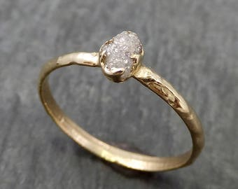 Raw Diamond Engagement Ring Rough Uncut Diamond Solitaire Recycled 14k gold Conflict Free Diamond Wedding Promise byAngeline 0665