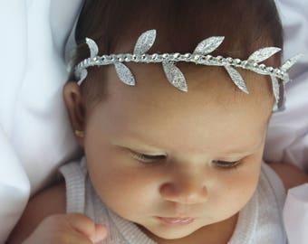 Greek Silver Headband, Tieback Headband, Pearls Headband, Baptism Headpiece, Silver Headband, Grecian Headband, Baby Headband Greek Headband