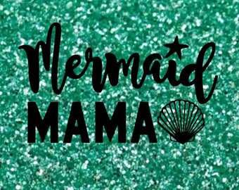 MERMAID MAMA Mermaids Shell Sparkly Iron On Sparkle Glitter Beach Decal in your choice of Color - Adult Mom Ladies Womens Sizes