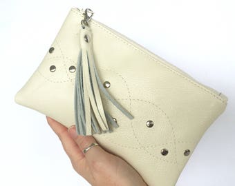 Monroe Leather Pouch:  Off White / Cream
