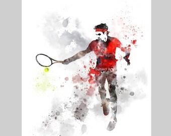Roger Federer ART PRINT illustration, Tennis, Sport, Wall Art, Home Decor, Gift