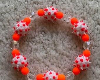 Neon Orange & White Beaded RUBBER SPIKE Bracelet