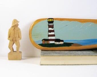 Lighthouse Painting - Vintage Seascape Painting on Wood Rowing Oar - Wood Landscape Painting - Seaside Beach Home Decor - Primitive Wall Art