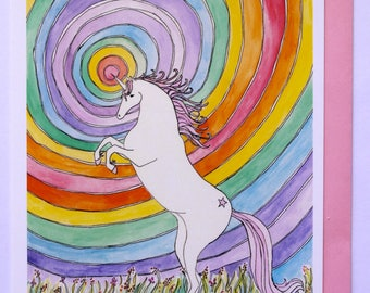 Psychedelic Sky , Hand Illustrated Greetings Card , Unicorn Card, Rainbow Unicorn Card, Illustrated Unicorn, Hand Illustrated Unicorn card