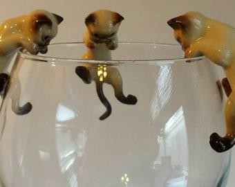 Siamese Kitten Climbers Tan Cream Blue Eyes Set of 3