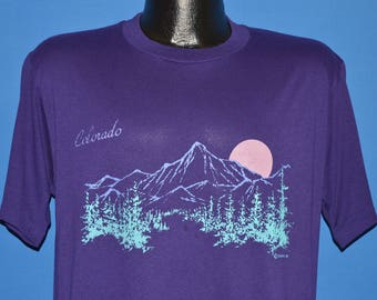 80s Colorado Rocky Mountains Sunset t-shirt Large