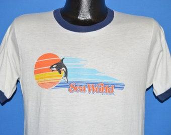 80s Sea World Sunset Shamu Ringer t-shirt Medium