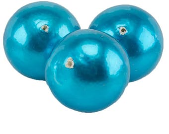 18mm Papermached  bead in vivid turquoise blue 1Pcs (PmA010_18mm_G369)