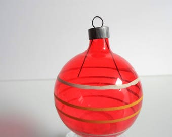 Vintage Christmas Glass Ornament Unsilvered Red with Yellow and White Stripes WWII Era