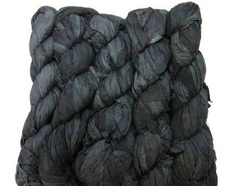 SALE New! Premium  Sari Silk  Ribbon yarn , 50g or 100g skeins available, color Charcoal Gray
